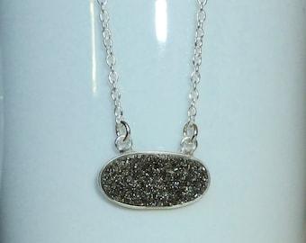 Black Diamond Druzy Necklace, Sterling Silver Druzy Necklace, Drusy Quartz Necklace, Druzy Jewelry