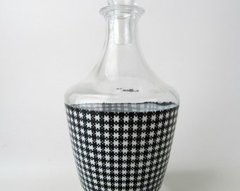 Gingham Plaid Glass Bottle Decanter Barware French