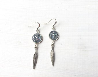 Silver Glitter and Resin Earrings with Silver Feather