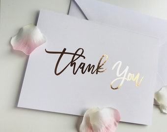 Foil Thank you card in rose gold, silver, gold or light pink foil