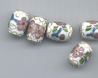 Five vintage Japanese cloisonne beads - floral pattern on a white background - 14 x 10 mm barrels