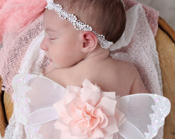 Butterfly wings, white and pale pink baby wings and/or matching headband for newborn photos, photo prop, photographers by Lil Miss Sweet Pea