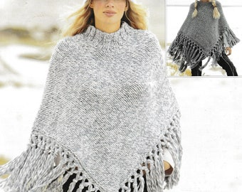 Vintage Knitting Pattern  Ladies and Girls Fringed Poncho   Super Chunky Bulky  Cape Wrap Cloak  INSTANT DOWNLOAD
