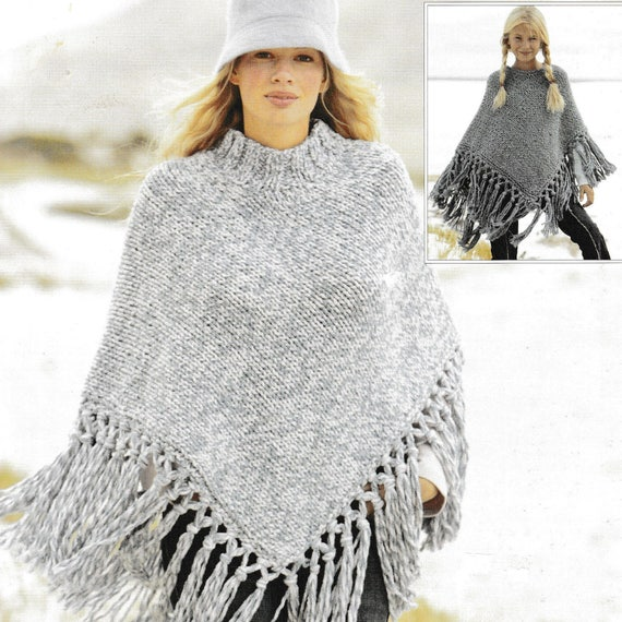 Vintage Knitting Pattern Ladies and Girls Fringed Poncho