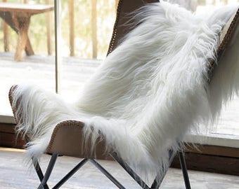 Amazing Icelandic genuine soft long wool sheepskin rug white-ivory 2 W x 3 L