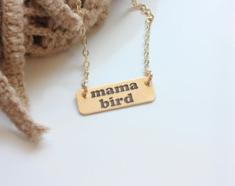 Mama Bird Gold Bar, Yellow Gold Filled Bar Necklace, Minimalist Trendy Phrase Necklace, Mama Bird, Wild Flower Necklace, New Mom Gift