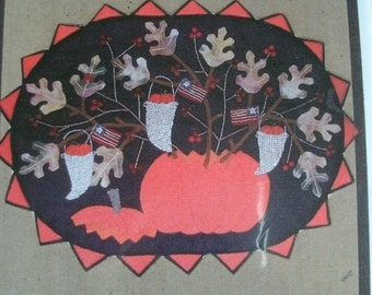 """Autumn Bouquet Wall Quilt Pattern Finished Size 25"""" x 19"""" from All Through the Night Pattern #218 Folk Art Quilt NEW 2002"""