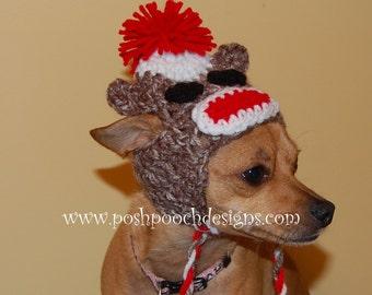 Sock Monkey Dog Hat - Custom made for Dog 2-15 lbs Small Dog beanie