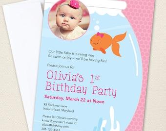Pink Goldfish Party Photo Invitations - Professionally printed *or* DIY printable
