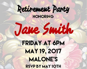 "Retirement Party 5""x7"" Custom Party Invitation Digital Printable"