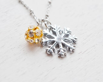 snowflake necklace, bridesmaid gift, winter necklace, gift for her, christmas, tiny snowflake charm, winter jewelry, wedding gift, friend