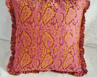 Pink cushion, old pink and light brown, edged with flounce.  pillow cover in brocade, pillow case, insert sold apart.
