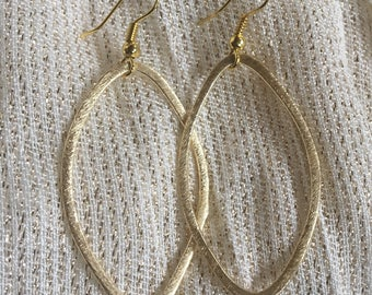 Brushed Gold oval dangle earrings