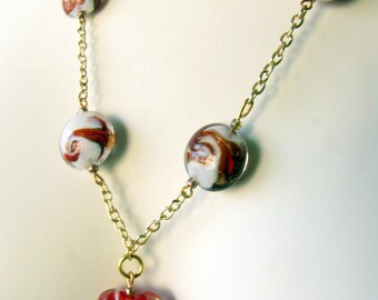 Red Glass Heart Lampwork Bead Necklace and Earring Set