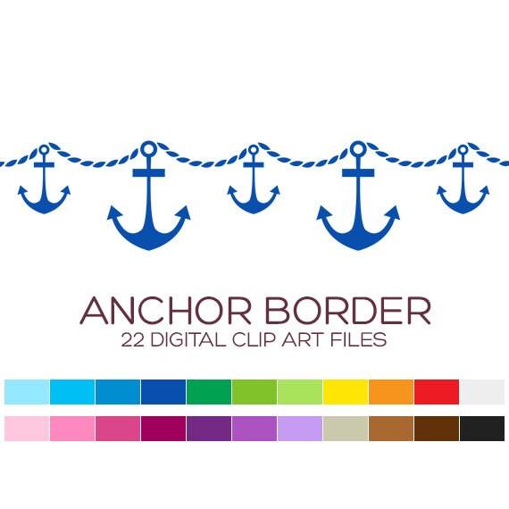 Nautical Clipart Clip Art Digital Paper Scrapbook Printable Chevron Anchor Border