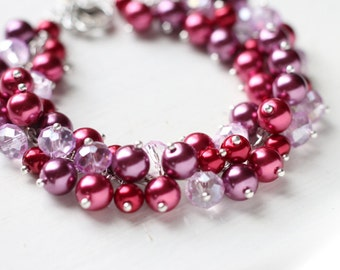 Bridesmaid Jewelry Pearl Cluster Bracelet in Burgundy Raspberry Red and Plum Color - Winery, for Bridal Party and Fall Wedding