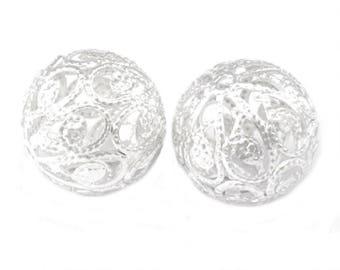 set of 10 filigree beads 10 mm bright silver
