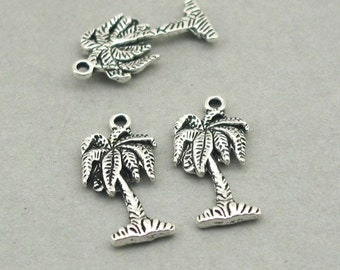 8 Palm Tree Charms, Palm Tree pendant beads Antique Silver 11X22mm CM0872S
