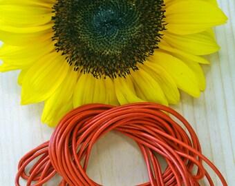 Orange: 2mm Round Leather Cord, 15 feet bundle, Indian Leather, Supple Leather, Leather Cording / Jewelry Making Supplies