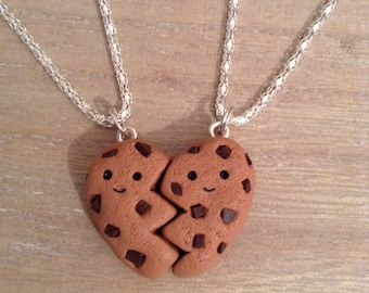Polymer Clay Best Friend Cookie Heart Necklaces Kawaii BFF