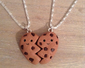 Polymer Clay Best Friend Cookie Heart Necklaces