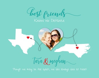 Best Friend Moving Away Gift, Going Away Gift for BFF, Long Distance Friendship Gift, Friends Know no Distance Gift, Any Two Places