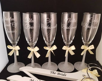 personalised Glitter stem champagne flutes with a pretty bow