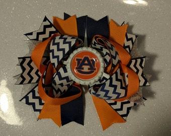 Auburn gameday Chevron hair bow, auburn tigers bow, auburn girl, football bow, auburn football accessories