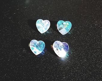 Hearts! Set of 50 ~ 14mm AB (Aurora Borealis) Color, 1 Hole