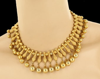 """Vintage Trifari Cleopatra Egyptian Revival Couture Runway Bib Necklace 16.5"""""""