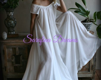 100% Cotton Nightgown Cap Sleeve Jane Austen Full Sweep Lingerie Sleepwear Ivory Nightgown Cotton Lingerie Honeymoon Cotton Sleepwear