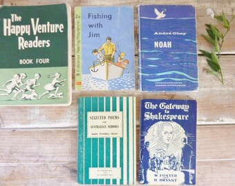 Books old bundle, school books, poems and plays readers Australian, blue & green books, display books, very old books, school readers