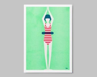 Risoprint – Zwemmer | Risograph print – Swimmer
