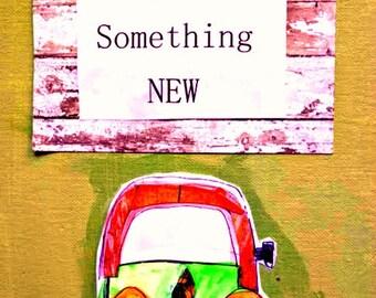 """VW Bug voiture 8.5 """"x 11"""" peinture technique mixte professeur cadeau étonnant plat toile originale commencer quelque chose de nouveau d'Inspiration Teal navire gratuit Orange"""