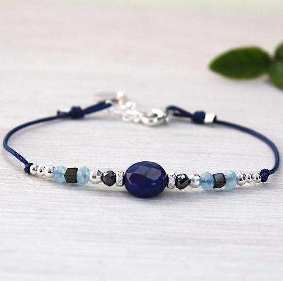 Bracelet 925 Silver beads and sodalite gem stone bead