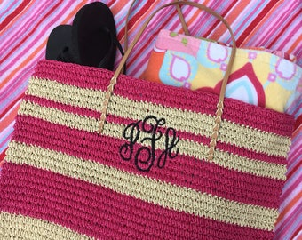 Monogram Straw Bag