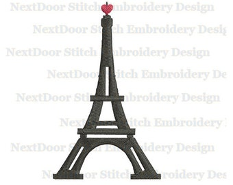 Eiffel tower embroidery design, Paris filled stitch machine embroidery file download, bd-003-fill