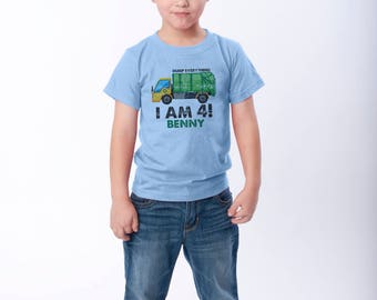 Dump Everything, I am 4!,  Garbage Truck Birthday Shirt, Personalized Tshirts, Matching Father, Sibling Tees, Distressed Graphic, Recycling