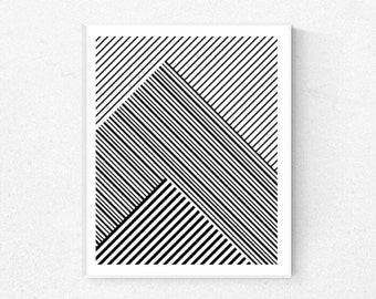 Geometric Print, Geometric Art, Minimalist print, Scandinavian print, Black and White Stripes, Black and White Print, Printable Wall Art