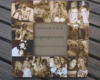 "Bridesmaid Collage Picture Frame, Custom Collage Maid of Honor Frame, Personalized Sister Gift, Best Friend Gift, Parent Gift, 8"" x 8"" Frame"