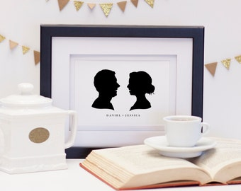 Wedding Anniversary Profile Silhouettes, Commemorative Marriage Portrait, Custom Silhouette Print from your photo, Wedding Gift Idea