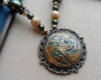 Gilded Lilly, Antique Enamel Button Necklace with Czech Glass and  14k Gold Filled Stardust Beads, Timeless Trinkets
