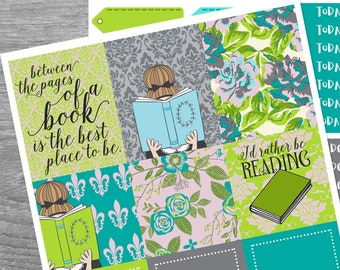 Between the Pages, Mini Kit, Planner Stickers for use with Erin Condren Vertical and Happy Planner, Literature,Reading, Book Lover