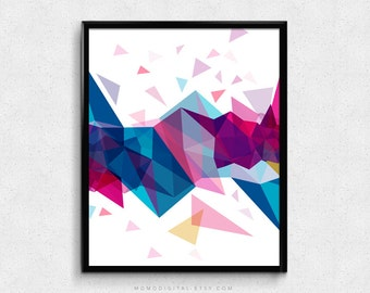 SALE -  Polygonal Mountains, Blue Pink, Triangles, Shape Poster, Confetti, Colorful Poster, Nursery, Room Decor, Wall Idea, Nature