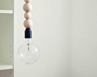 Ahoj-2012 Pendant lamp, pendant-light lamp made of wooden balls with zig-zag cable, lamp, wood, Zik-zak, geometry, light, canopy, trend
