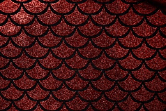 Red Dragon Scale Spandex Fabric Holographic Mermaid Blood