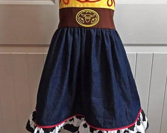 Girls Toddler Inspired Toy Story JESSIE Dress  18  24 2T 3T 4T 5T 6x