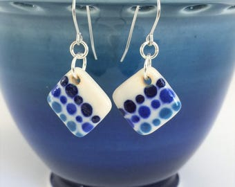 Small Drop Earrings, Blue Earrings, Handmade Ceramic Earrings, Porcelain Earrings, Surgical Steel or Sterling Ear Wires, Pottery Earrings