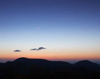 "blue ridge, shenandoah, mountain view, sunrise hike, nature, Virginia, fine art: 11x16 or 8x12 photograph, ""Blue Ridge Sunrise"""