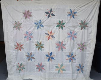 Queen Vintage Quilt Top, 'Eight Pointed Star' Multi Colored Alternating Blocks, Circa 1930's, Hand and Machine Pieced Antique Top, #18158